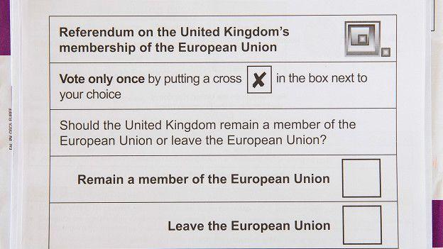 """Los británicos tendrán que elegir entre el voto """"Remain"""" (permanecer) y el """"Leave"""" (salir)."""