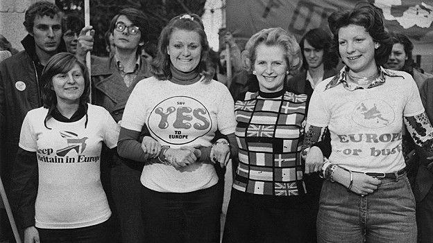 Margareth Thatcher estaba todavía en la oposición cuando se celebró el referendo de 1975 y apoyó la permanencia.